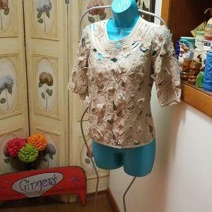 Bcbg lace flower top